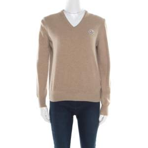 Moncler Beige Wool V-Neck Sweater XL