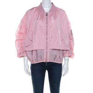 Moncler Pink Layered Zip Front Lightweight Bomber Jacket XL