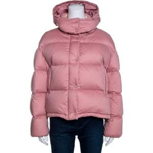 Moncler Pink Cotton Goose Down Paeonia Puffer Jacket M
