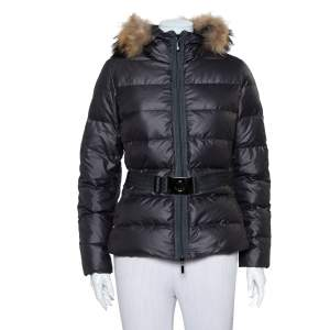 Moncler Grey Synthetic Fur Lined Belted Hooded Puffer Jacket M