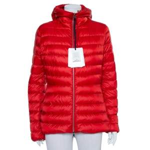 Moncler Red Synthetic Quilted Hooded Jacket XL