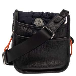 Moncler Black/Navy Blue Pebbled Leather Rania Shoulder Bag