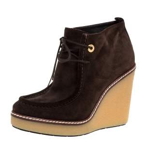 Moncler Brown Suede Celie Lace Up Wedge Ankle Boots Size 37