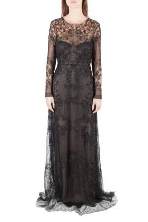 Monique Lhuillier Noir Black Embellished Long Sleeve Evening Gown S