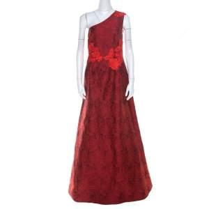 Monique Lhuillier Red Lace & Jacquard One Shoulder Evening Dress L