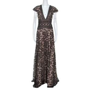 Monique Lhuillier Black And Beige Lace V Neck Maxi Dress L