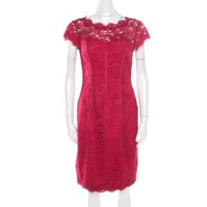 ML by Monique Lhuillier Pink Floral Lace Scalloped Trim Cut Out Back Detail Dress M