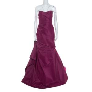 Monique Lhuillier Garnet Purple Silk Tufted Skirt Strapless Gown XL