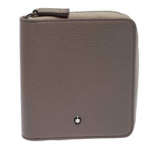 Montblanc Beige Leather Zip Around Compact Wallet