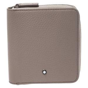 Montblanc Beige Leather Zip Around Wallet