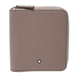 Montblanc Beige Leather Meisterstuck 4CC Zip Around Wallet