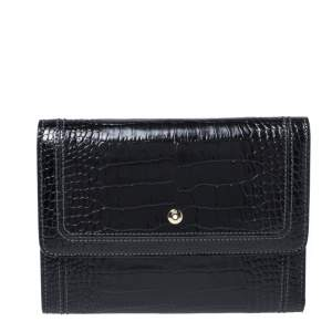 Montblanc Black Croc Embossed Leather Trifold Wallet