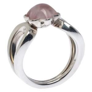 Montblanc Cabochon de Montblanc Rose Quartz Silver Ring Size 54