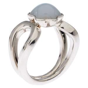 Montblanc Cabochon de Montblanc Grey Quartz Silver Ring Size 52