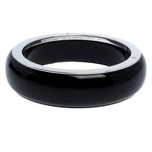Montblanc Les Aimants by Charlotte Casiraghi Black Resin Sterling Silver Bangle Bracelet Size 64