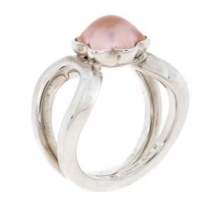 Montblanc Cabochon de Montblanc Rose Quartz Silver Ring Size 52