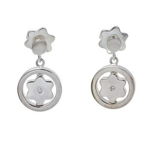 Montblanc Star Signet Sterling Silver Diamond Drop Earrings