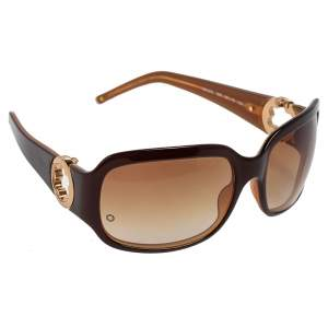 Montblanc Gold/Brown MB90S Gradient Rectangle Sunglasses