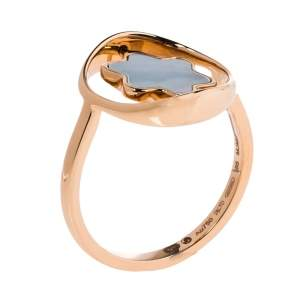Montblanc Rotating Emblem Mother of Pearl 18K Rose Gold Ring Size 56