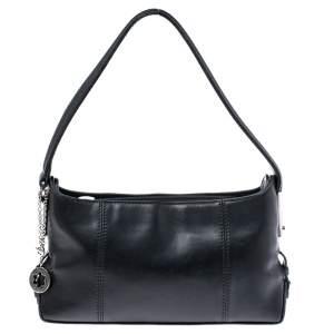 Mont Blanc Black Leather Top Zip Shoulder Bag
