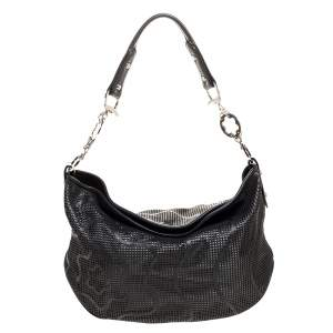 Montblanc Black Laser Cut Leather Starisma Alcina Hobo