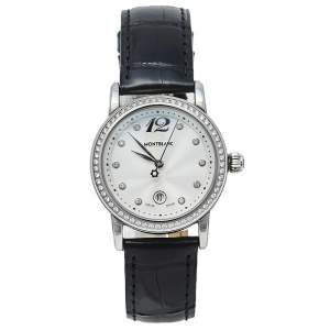 Montblanc Silver Stainless Steel Leather Diamonds Meisterstuck 7079 Women's Wristwatch 31 mm