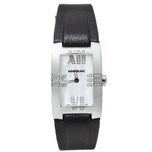 Montblanc Mother Of Pearl Stainless Steel Leather Profile Elegance 7183 Women's Wristwatch 24 mm