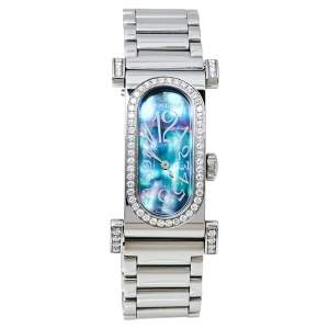 Montega Blue MOP Stainless Steel Diamonds 0982 Women's Wristwatch 18 X 38 MM