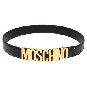 Moschino Navy Blue Leather Classic Logo Belt 85 CM