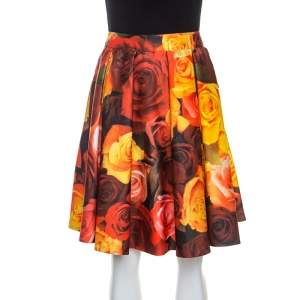 Moschino Couture Red Floral Printed Sateen Pleated Skirt M