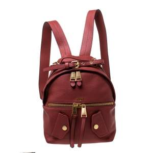 Moschino Nude Red Leather Medium Pocket Backpack