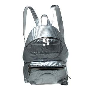 Moschino Silver Teddy Embossed Large Leather Backpack