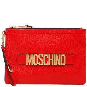 Moschino Red Leather Logo Clutch Bag