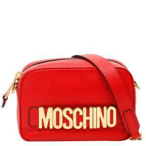 Moschino Red Leather Logo Camera Bag