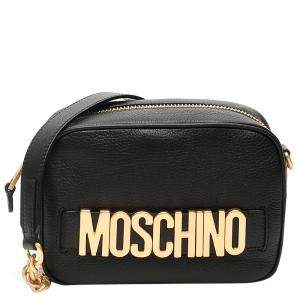 Moschino Black Leather Logo Camera Bag