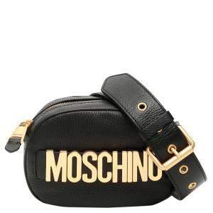Moschino Black Leather Camera Bag