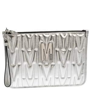 Moschino Silver Leather Pochette