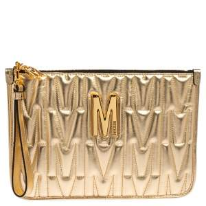 Moschino Gold Leather Pochette