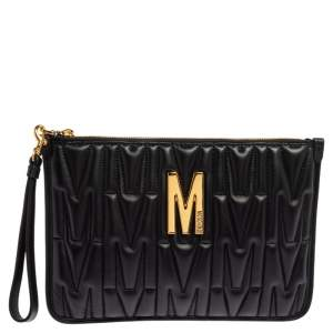 Moschino Black Monogram Embossed Leather M Pouch
