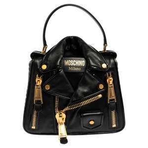 Moschino Black Leather Biker Jacket Shoulder Bag