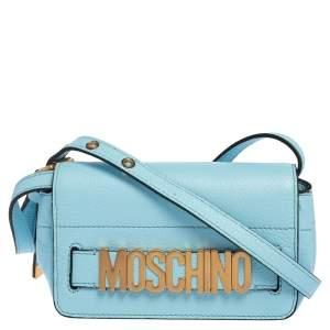 Moschino Blue Leather Logo Flap Crossbody Bag