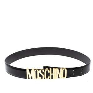 Moschino Black Leather Logo Belt 100CM