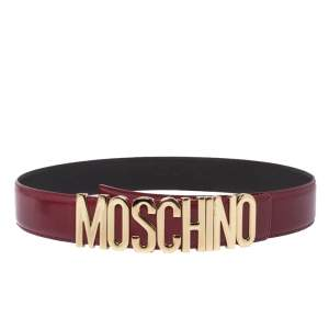 Moschino Red Patent Leather Logo Belt 95CM