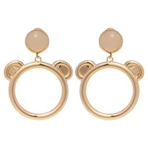Moschino Teddy Bear Motif Gold Tone Clip On Hoop Earrings