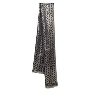 Moschino Black & Gold Lurex Devore Scarf