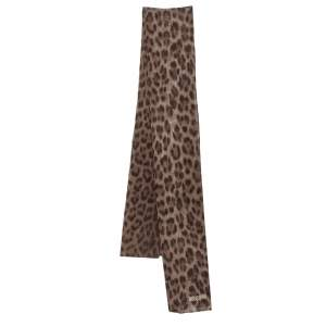 Moschino Brown Tiger Print Silk Scarf