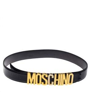Moschino Black Leather Classic Logo Belt 95CM