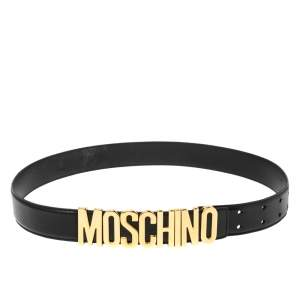 Moschino Black Leather Redwall Logo Waist Belt 94CM