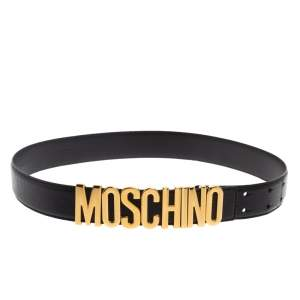 Moschino Black Leather Redwall Logo Waist Belt 80CM