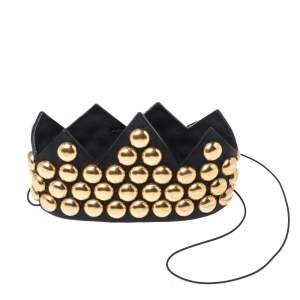 Moschino Black Leather Gold Tone Studded Crown